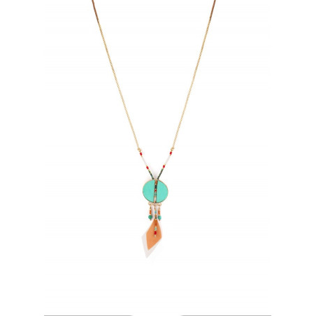 Collier pendentif tendance plumes et turquoise | turquoise