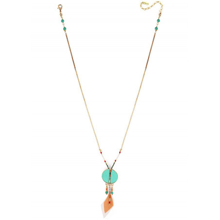 On-trend feather and turquoise pendant necklace | turquoise73315