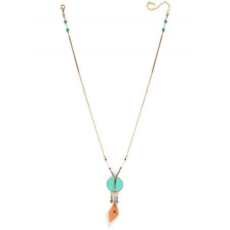 Collier pendentif tendance plumes et turquoise | turquoise73315