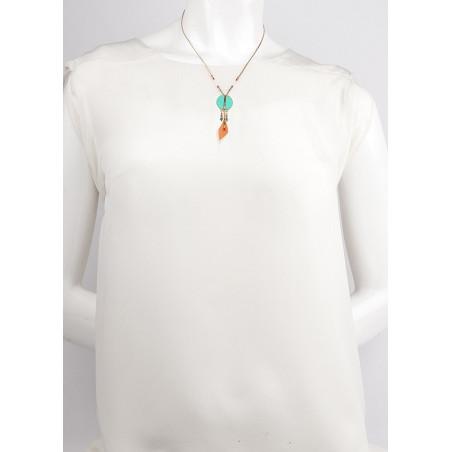 Collier pendentif tendance plumes et turquoise | turquoise73316