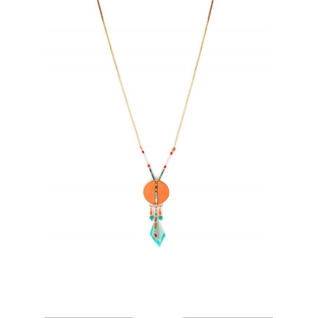 Pop feather and turquoise pendant necklace | orange