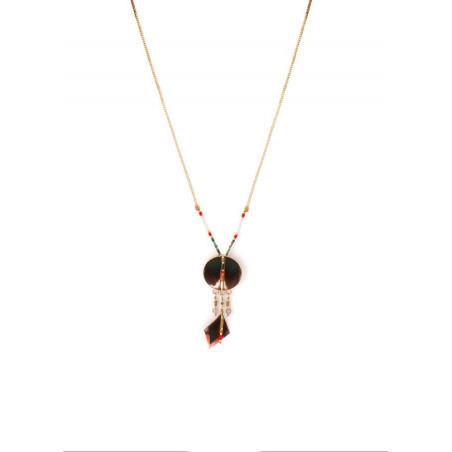 Elegant feather and labradorite pendant necklace| khaki