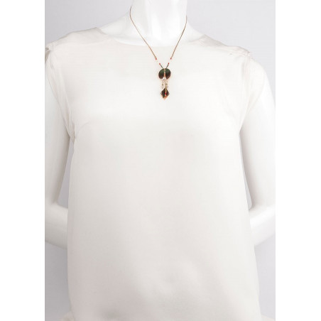 Elegant feather and labradorite pendant necklace| khaki73322