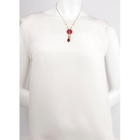 Collier pendentif glamour plumes et labradorite | rouge73325