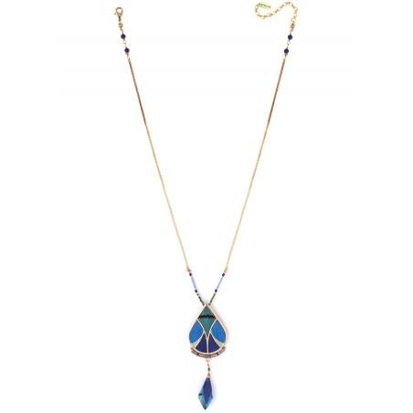 Bohemian feather and lapis lazuli pendant necklace | blue73327