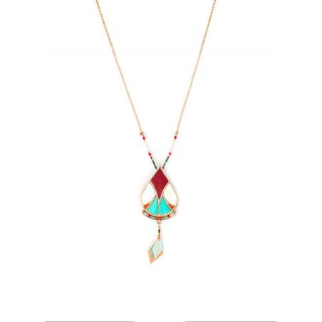 Collier pendentif ethnique plumes et turquoise | multicolore