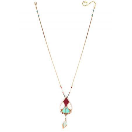 Collier pendentif ethnique plumes et turquoise | multicolore73333