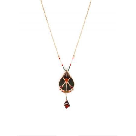 Refined feather and labradorite pendant necklace| khaki