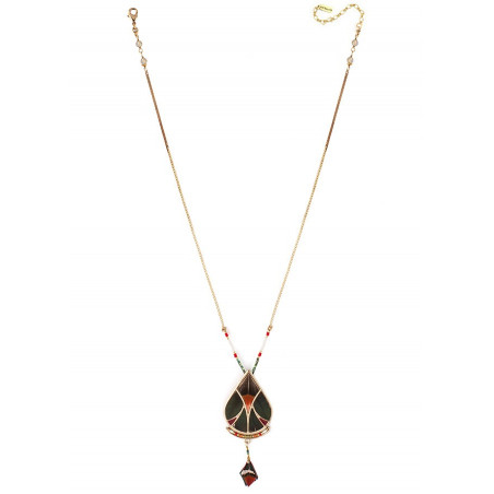 Refined feather and labradorite pendant necklace| khaki73336