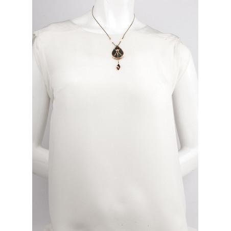 Refined feather and labradorite pendant necklace| khaki73337