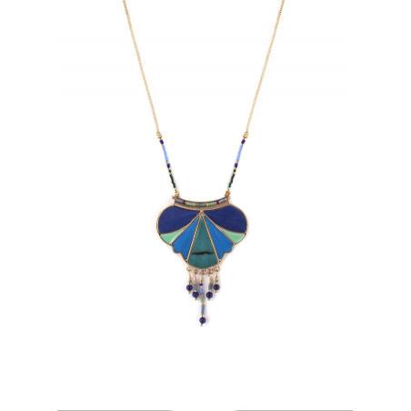 Collier pendentif graphique plumes et lapis lazuli   bleu