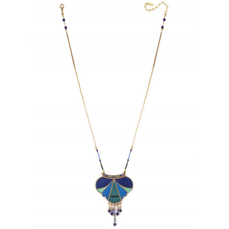 Collier pendentif graphique plumes et lapis lazuli   bleu73339