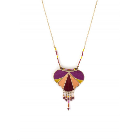 Pop feather and garnet pendant necklace | pink