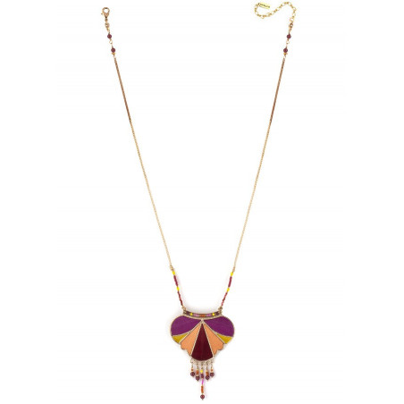 Pop feather and garnet pendant necklace | pink73342