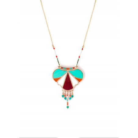 Ethnic feather and turquoise pendant necklace   multicoloured