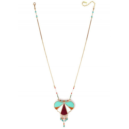 Ethnic feather and turquoise pendant necklace   multicoloured73345