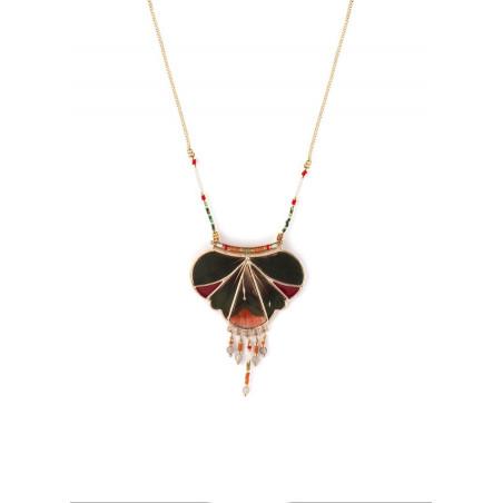 On-trend feather and labradorite pendant necklace  khaki
