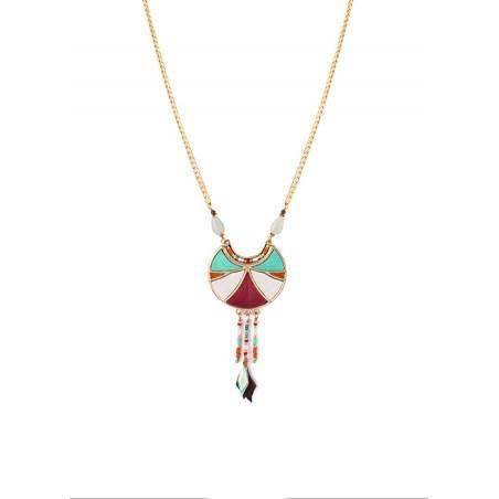 Collier pendentif graphique plumes et améthyste | multicolore
