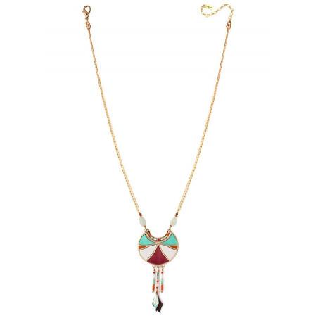 Collier pendentif graphique plumes et améthyste | multicolore73357