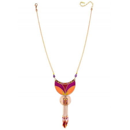Sunny feather and garnet pendant necklace   pink73366