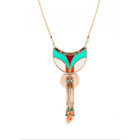 Graphic feather and turquoise pendant necklace   multicoloured