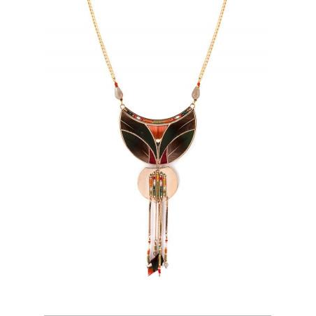 Poetic feather and carnelian pendant necklace  khaki