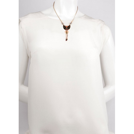 Poetic feather and carnelian pendant necklace  khaki73373