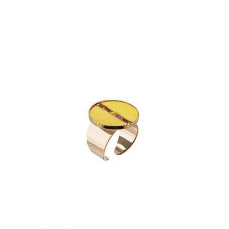 Festive feather and bead adjustable ring | yellow