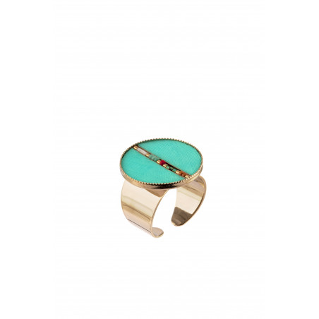 Bague ajustable bohème plumes et perles   turquoise