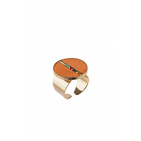 Pop feather and bead adjustable ring | orange