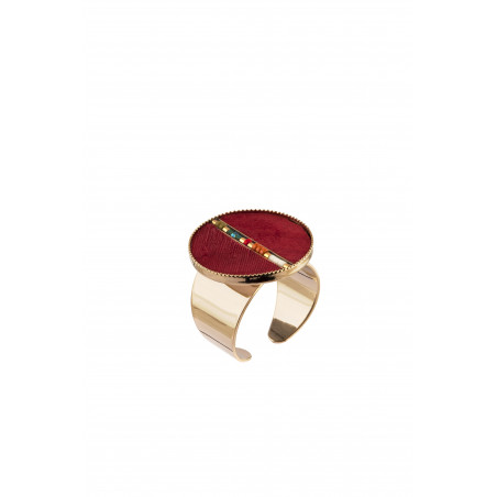 Festive feather and bead adjustable ring   red
