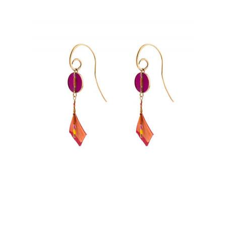 Boucles d'oreilles percées graphiques plumes   rose