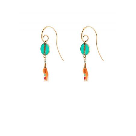 Boucles d'oreilles percées aériennes plumes | turquoise
