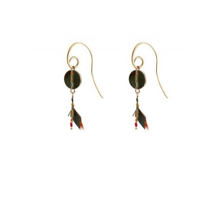 Arty feather earrings for pierced ears   khaki