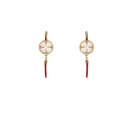 Boucles d'oreilles dormeuses modes nacre et métal doré   rouge