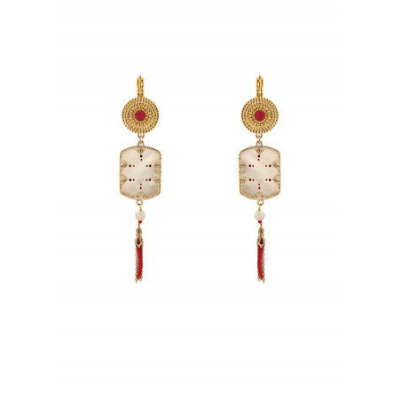 Sunny mother-of-pearl and lacquered metal sleeper earrings l red