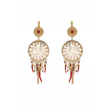 On-trend mother-of-pearl Japanese beads sleeper earrings l red
