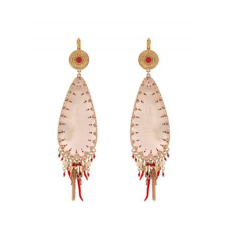Glamorous white mother- of-pearl sleeper earrings| red