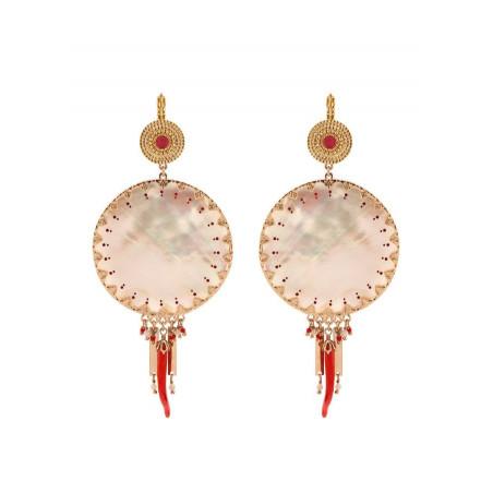 Feminine white mother- of-pearl sleeper earrings| red