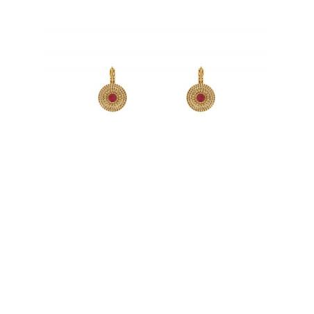 Elegant gold-plated metal sleeper earrings| red