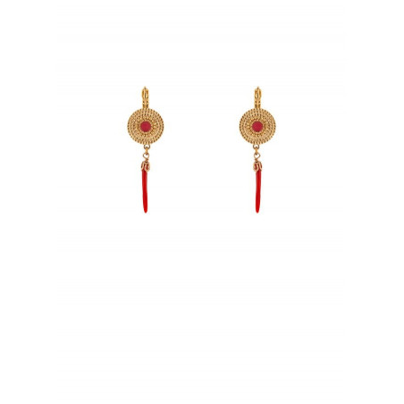 Feminine gold metal and chilli sleeper earrings red