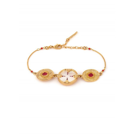 Delicate mother-of-pearl and Japanese bead bracelet red