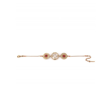 Delicate mother-of-pearl and Japanese bead bracelet red73498