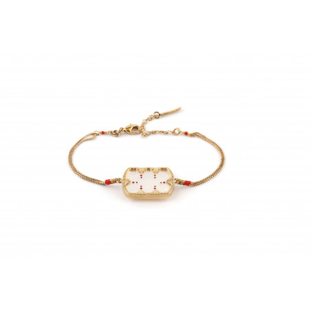 Glamorous white mother-of-pearl and Japanese bead bracelet|red