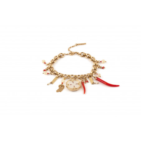 Beautiful white mother-of-pearl and Japanese bead bracelet|red