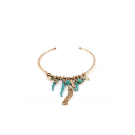 On-trend turquoise-of-pearl and Japanese bead bangle| turquoise