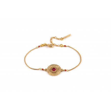 Sunny gold-plated metal and lacquered metal slim bracelet   red