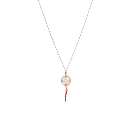 Refined white mother-of-pearl and lacquered metal chilli pepper pendant necklace| red