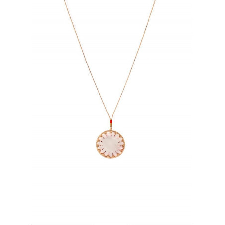 Glamorous white mother-of-pearl and Japanese bead pendant necklace red