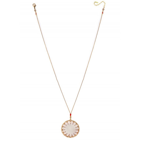 Glamorous white mother-of-pearl and Japanese bead pendant necklace red73556